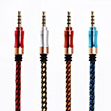 SMALLElectric 3.5mm 4-Pack Nylon Braided Auxiliary Audio Cable (5ft / 1.5m) Tangle-Free AUX Cable for Headphones, iPods, iPhones, iPads, Home / Car Stereos and More (multicolor)