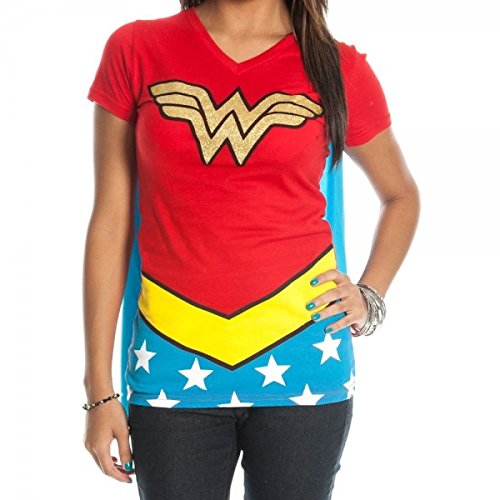DC Comics Wonder Woman Glitter Juniors Red V-neck Tee, S to XL