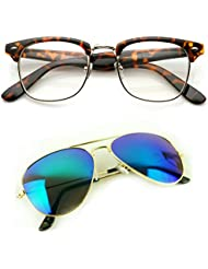 Redix Traditional New Combo Tiger Frame Transparent Clubmaster And Mercury Aviator Sunglasses For Unisex