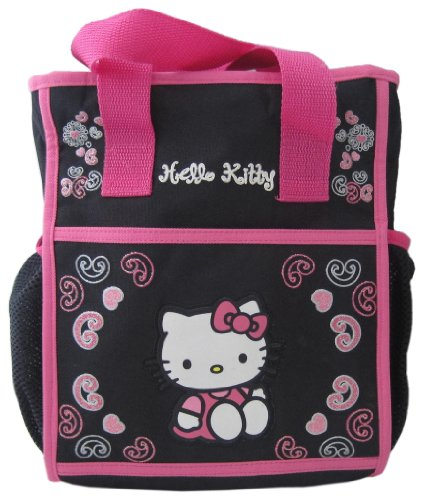 Hello Kitty Diaper Bag with Handles, Black/Pink