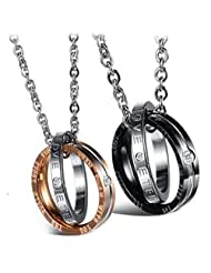 Via Mazzini 316L Stainless Steel Love Birds Crystal Couple Necklaces (NK0317)