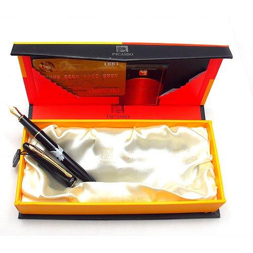 picasso毕加索法国和平使者纯黑镀金钢笔 606
