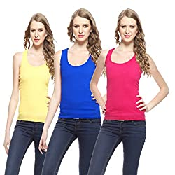 Friskers Women's Tank Top (Pack Of 3) (FY-SPG-05_06_07_Yellow_Small)