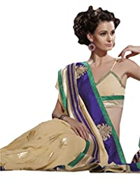 Indian Saree Sari Embroidered Faux Georgette Multi By Triveni - B00N1X3UCI