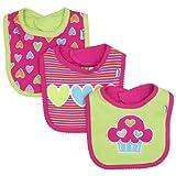 Lamaze Baby-Girls Newborn 3 Pack Heart Interlock Bib
