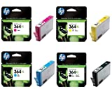 HP 364XL (High Capacity) Original Printer Ink Cartridges (Cyan / Magenta / Yellow / Black) for Photosmart e-All-in-One 7510