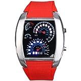 Yesurprise Fashion Silicone Rubber Band Blue Binary DOT Unisex LED Wrist Watch Red
