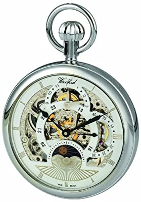 Woodford Pocket Watch 1050 Chrome Plated Two Time Zone
