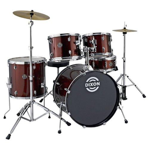 Dixon Riot Podrt522Wr 5-Piece Drum Set, Wine Red