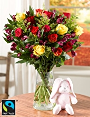 Fairtrade™ Alstromeria Bouquet with Teddy Bear