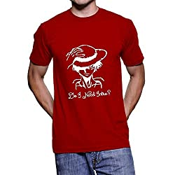 Fanideaz Men's Cotton Do I Need Intro One Piece Captain Pirate T Shirt_Red_S