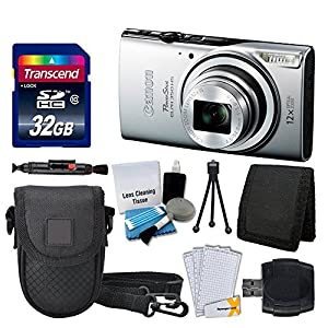Canon Powershot ELPH 350 HS Digital Camera (Silver) + Transcend 32GB Memory Card + Point & Shoot Case + USB Card Reader + Screen Protectors + Memory Card Wallet + Cleaning Pen + Deluxe Accessory Kit