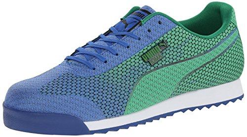 PUMA Men's Roma Woven Mesh Lace-Up Fashion Sneaker, Strong Blue/Fern Green, 10 M US