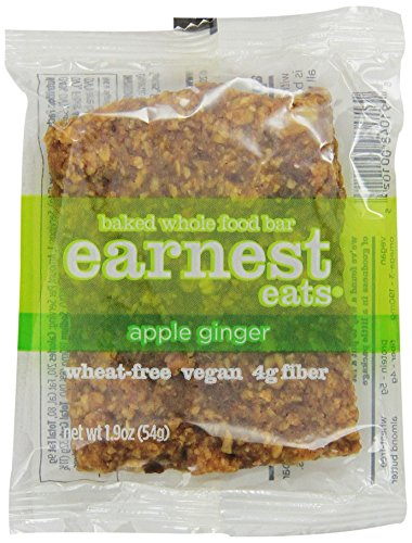 Earnest Eats 100% All-Natural Wheat-Free & Vegan Chewy Baked Energy Bars With Whole Nuts, Fruits, Seeds And Grains - Apple Ginger - (Case Of 12)