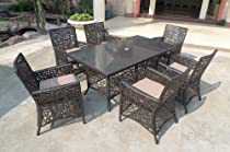 Hot Sale 7pc Outdoor Wicker Patio Dining Set - seats 6