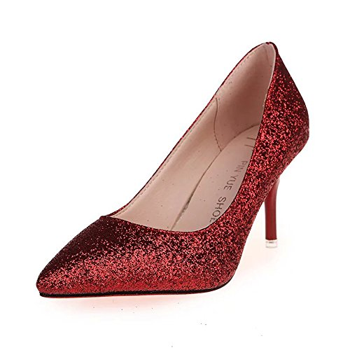 Sequined high-heeled shoes thin heels Dinner dress party pointed Toes shoes (6.5, red) Sequined Espadrille