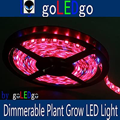 goLEDgo Dimmerable LED Plant Grow Light Strip 16FT 5M 300 LEDS 5050 SMD Waterproof R/B 8:1 DC12V,with Finished DC Head and Power Supply,Plug and play, Brightness Adjustable Design and produced by goLEDgo led strip 01