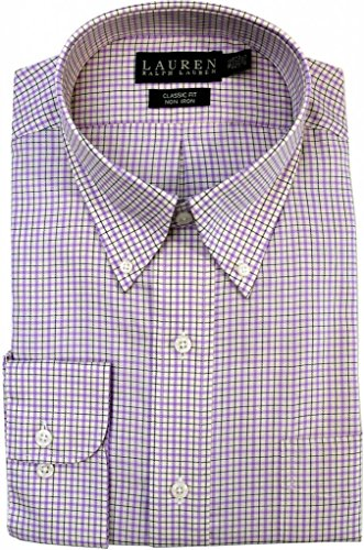 "Lauren Ralph Lauren Classic-Fit Checked Dress Shirt, Lavendar/White, 17.5"" 34/35"