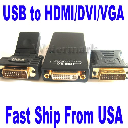 USB 2.0 To VGA/DVI/HDMI Multi-Display Graphic Adapter 1080P