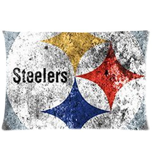 """Retro Pittsburgh Steelers Snow White Painted Custom Zippered Rectangle Pillow Case Pillowcase Standard Size:20""""x 30"""" (Two Sides) from SteelerMania"""