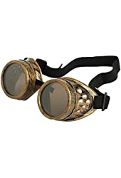 Leegoal Cyber Goggles Steampunk Welding Goth Cosplay Vintage Goggles Rustic (copper)