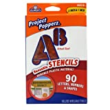 Elmers Project Popperz Reusable Plastic Stencils, 2 Inch and 1 Inch, 90 Letters, Numbers and Shapes (3062)