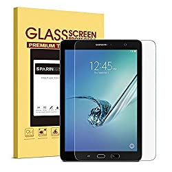 Samsung Galaxy Tab S2 9.7 Screen Protector [Tempered Glass], SPARIN ' [Explosion-proof] [Repeatable Installation] Clear Glass Screen Protector for Both Wi-Fi Version SM-T810 and LTE Version SM-T815, Retail Packaging
