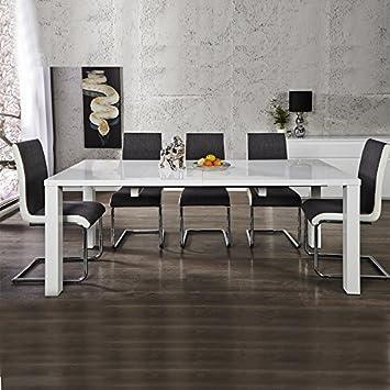 Tavolo da pranzo tavolo per la sala da pranzo, bianco lucido, 120/160/200 cm allungabile