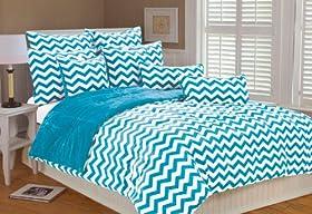 Stunning Marlo Lorenz Chevron Microplush Comforter Set Clear Blue Full Queen price