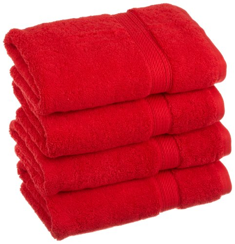 Superior 900 Gram 100% Premium Long-Staple Combed Cotton 4-Piece Hand Towel Set, Red (Red Hand Towels compare prices)