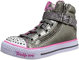 Skechers Kids Heart & Sole Light Up Sneaker,Gunmetal,12 M US Little Kid