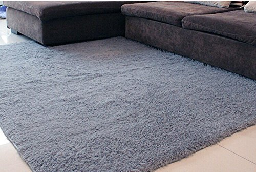Lover Baby Hot Sale Children'S Garden Super Soft Modern Shag Area Rugs Living Room Carpet Bedroom Rug For Children Play Solid Home Decorator Floor Rug And Carpets 4- Feet By 5- Feet (Gray) front-195432