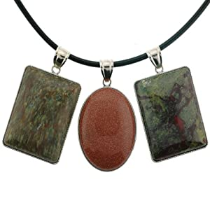 Set of 3 Semi Precious Gemstone Inlayed Pendants - Dragon Blood Jasper, Rainbow Leopard Skin, and Goldstone - 18'' Necklace Included, 33x42mm Rectangle, 30x40mm Oval