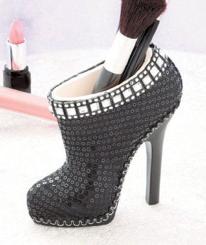 Sexy Black Sequin Shoe Cosmetic Brush Accessory Holder front-949388