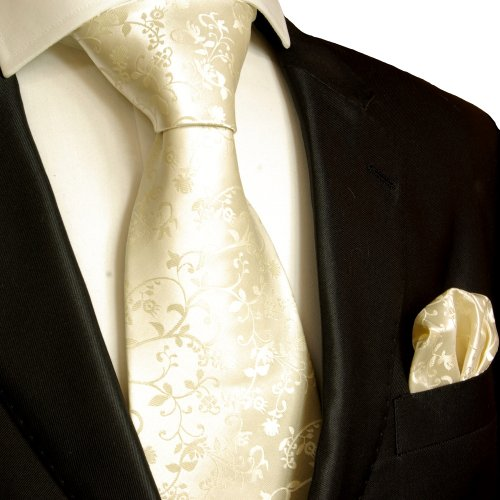 Mens Tie Set 2pcs. champagne wedding Paul Malone 100% Silk tie for men Necktie + Handkerchief
