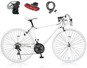 Grandir(グランディール) 700Cロードバイク シマノ21段変速[サムシフター] 2WAYブレーキシステム搭載 フレームサイズ470 Grandir Sensitive ホワイト3点セット