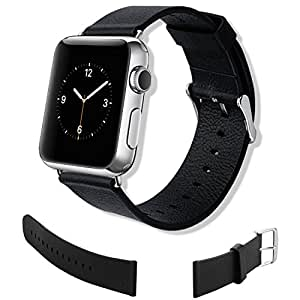 Luxury iWatch Genuine Leather Replacement Strap Wrist Band Straps Watchband for Apple Watch Strap 42mm Classic Buckle & Modern Buckle - Black