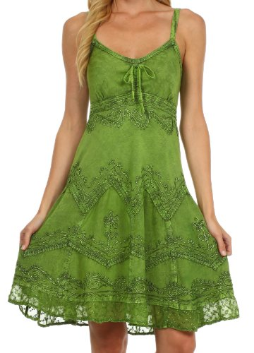 Sakkas 4031 Stonewashed Rayon Adjustable Spaghetti Straps Mid Length Dress - Green - 1X/2X