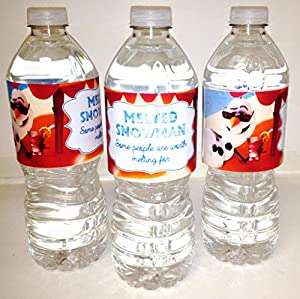 'Melted Snowman' Frozen Water Bottle Wraps for Birthday Party Supplies