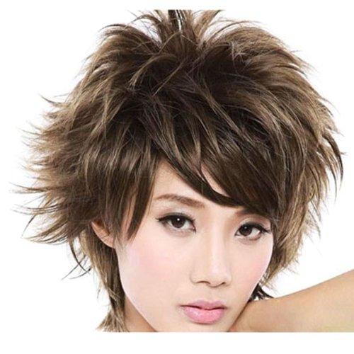 Vktech New Stylish Short Light Brown Fluffy Curly Women Hair Wig Short Lady Full Wig