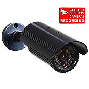VideoSecu Fake Dummy Security Camera CCTV Home Surveillance IR Infrared Fake Bullet Camera with Flashing Light 1RE