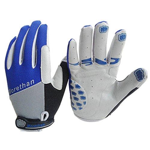 Yihya Respirable Transpirable Ciclismo Bicicleta Bici MTB Bike Motos Prueba de Golpes Gel Silicona Completa del Dedo Guantes Full Finger Antideslizante Gloves Protección de Mano sin dedos para los Deportes al Aire Libre --- azul - XL