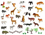 Set of 30 Large size ZOO SET Wild, Jungle, Farm & Desert Animals In Plastic Storage Container