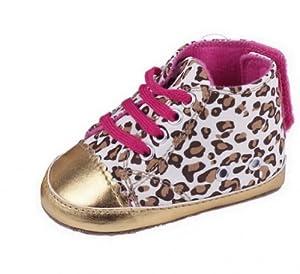 V-SOL Dibujo De Leopardo Con Cordones Velcro Fieltro Patuco Zapatillas Zapatos Para Bebé Cuero Dorado 11cm 3-6 Meses por V-SOL en BebeHogar.com
