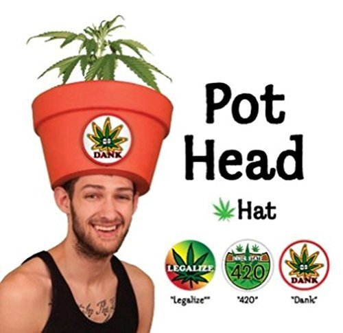 "Trendy Adult Costumes for Men ""Pot Head"" Hat Combo with Fake Plant"