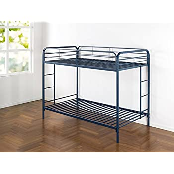 Zinus Easy Assembly Quick Lock Metal Bunk Bed with Dual Ladders, Twin Over Twin, Navy