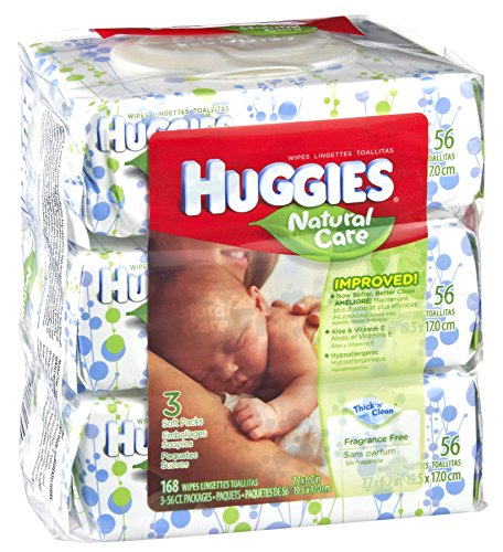 Huggies Frag Free Nat Care Baby Wipes 168 Ct, Pack of 3