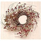 CWI Gifts Burgundy and Old Gold Pip and Twig with Rusty Star Wreath, 10-Inch