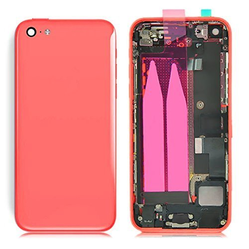 Preassembled Mid Middle Frame Bezel Complete Back Cover Full Metal Housing Assembly Battery Door Rear Case Replacement Spare Parts For Iphone 5C (Pink)