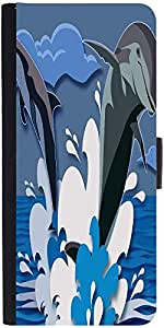 Snoogg Dolphin 2473 Graphic Snap On Hard Back Leather + Pc Flip Cover Samsung...
